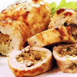 Мясо с грибами и сыром