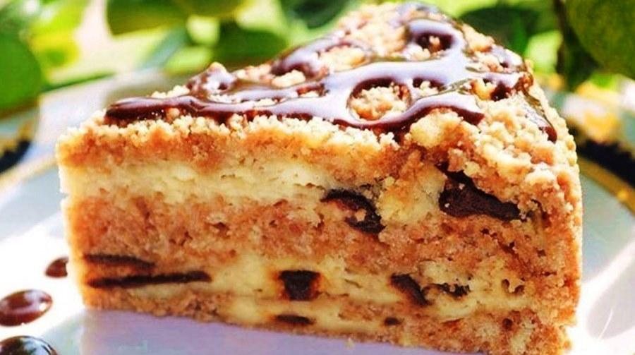 пирог с творогом и черносливом